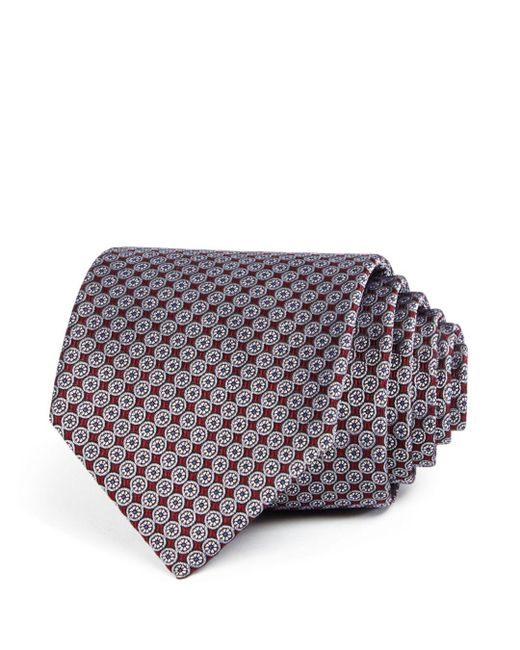 Bloomingdale's - Red Neat Compass Silk Classic Tie for Men - Lyst