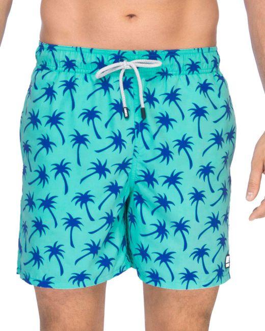 Tom & Teddy - Green Palm Print Swim Trunks for Men - Lyst