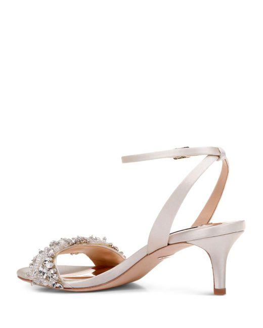 be4a81bce5c ... Lyst Badgley Mischka - White Women s Fiona Embellished Kitten Heel  Sandals ...