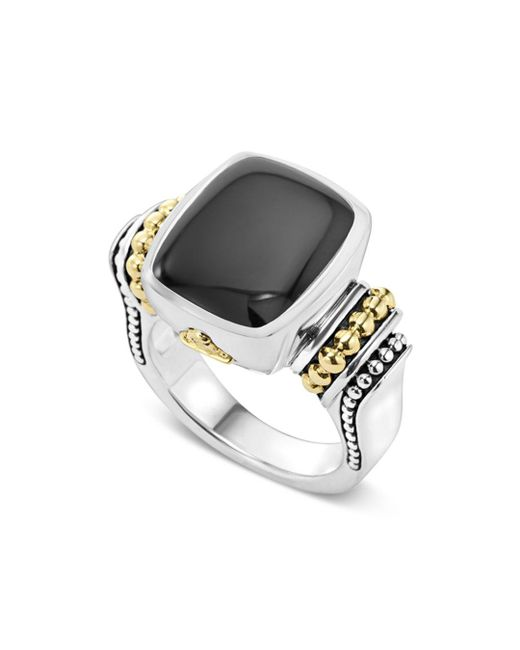 Lagos - Metallic 18k Gold And Sterling Silver Medium Onyx Ring - Lyst
