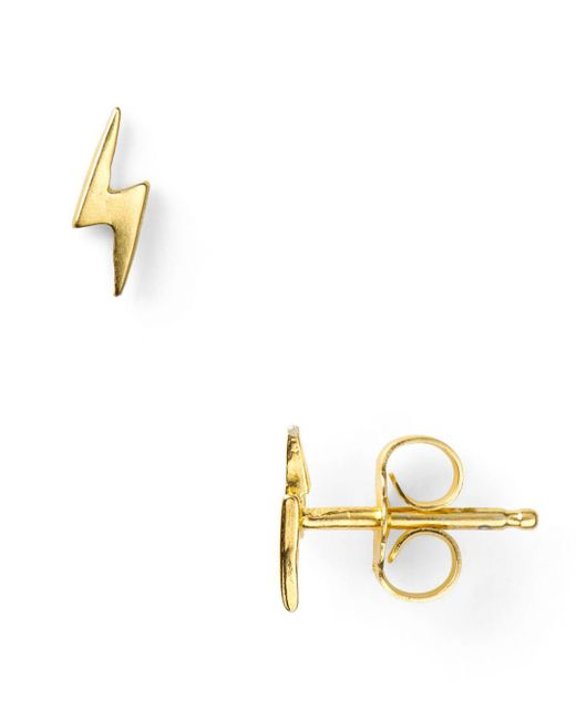 Dogeared - Metallic Little Things Mini Gold Lightning Bolt Stud Earrings - Lyst