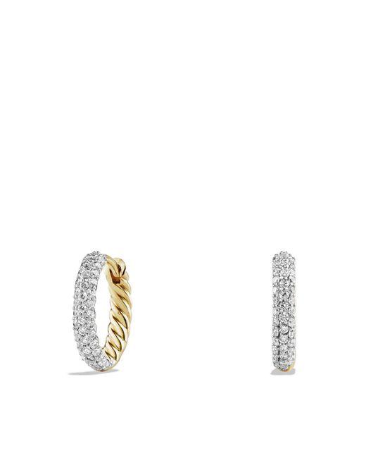 David Yurman - Metallic Petite Pavé Earrings With Diamonds In 18k Gold - Lyst
