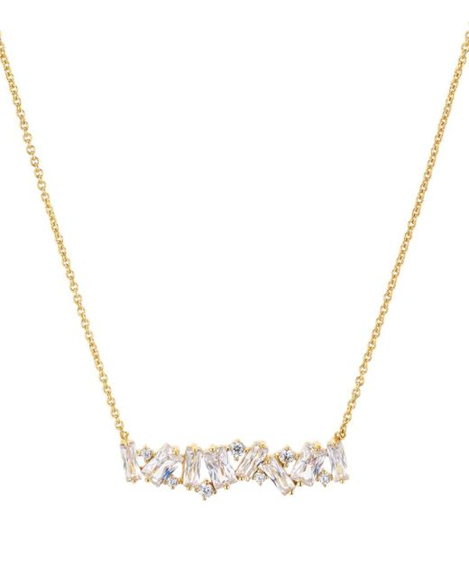 Aqua Metallic Cluster Bar Pendant Necklace In 18k Gold - Plated Sterling Silver