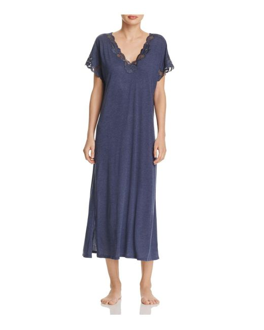 Natori   Blue Zen Floral Lace Gown   Lyst