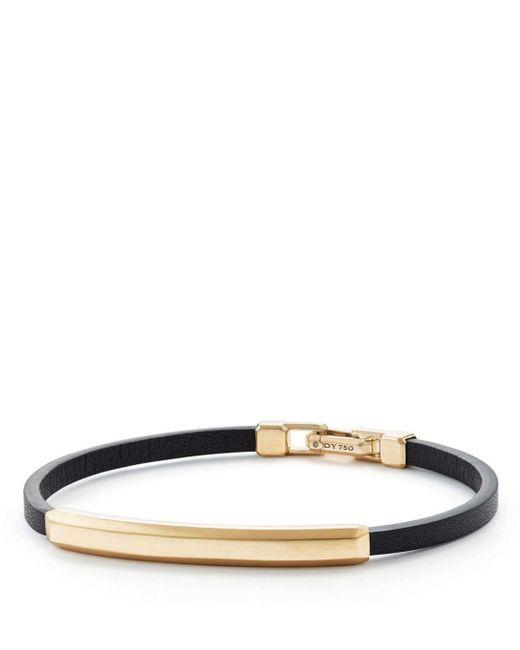 David Yurman - Metallic Streamline Leather Bar Id Bracelet With 18k Gold for Men - Lyst