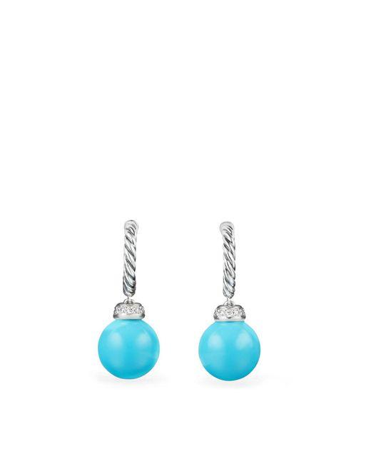 David Yurman - Blue Solari Drop Earrings With Diamonds & Reconstituted Turquoise - Lyst