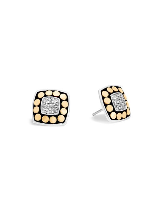 John Hardy | Metallic 18k Yellow Gold And Sterling Silver Dot Stud Earrings With Diamonds | Lyst