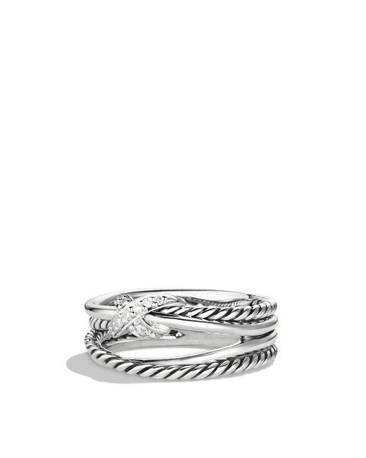 David Yurman | Metallic X Crossover Ring With Diamonds | Lyst