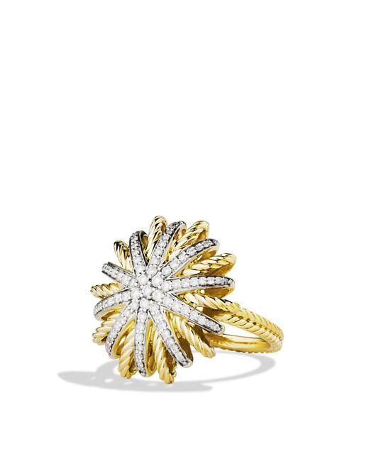 David Yurman | Yellow Starburst Ring With Diamonds In Gold | Lyst