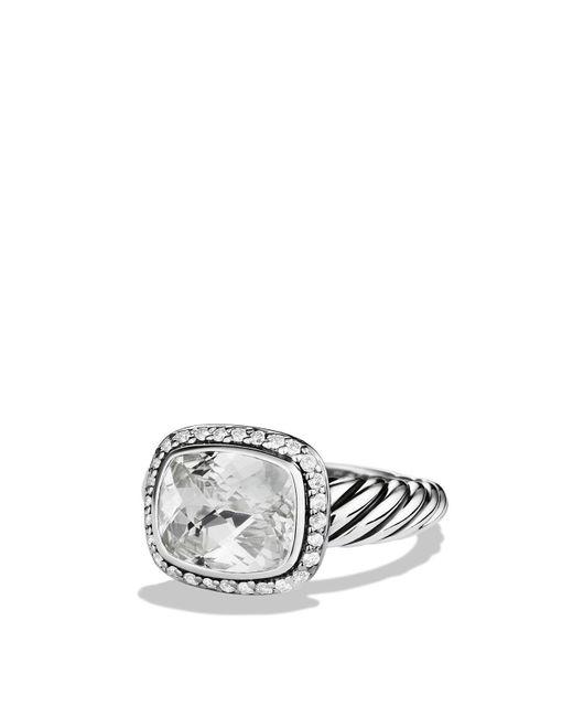 David Yurman | Metallic Noblesse Ring With White Topaz & Diamonds | Lyst