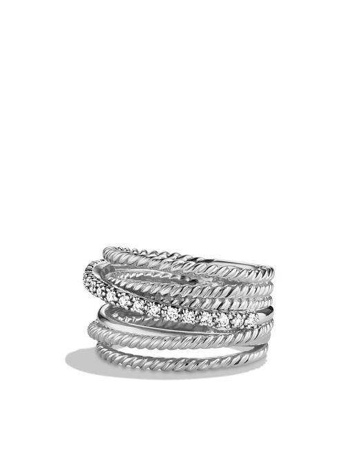 David Yurman | Metallic Crossover Wide Ring With Diamonds | Lyst