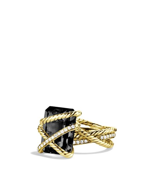 David Yurman | Yellow Cable Wrap Ring With Black Onyx & Diamonds In Gold | Lyst