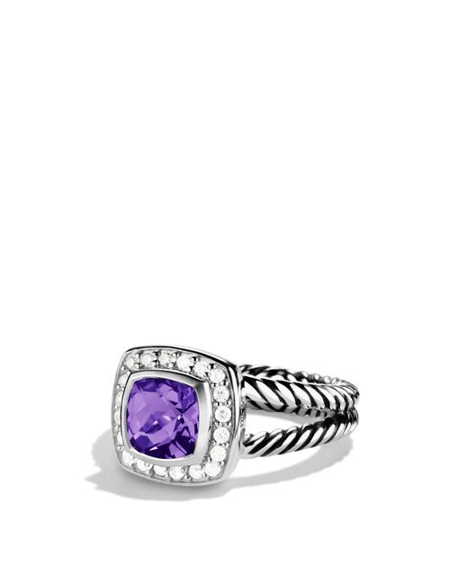 David Yurman | Metallic Petite Albion Ring With Amethyst & Diamonds | Lyst