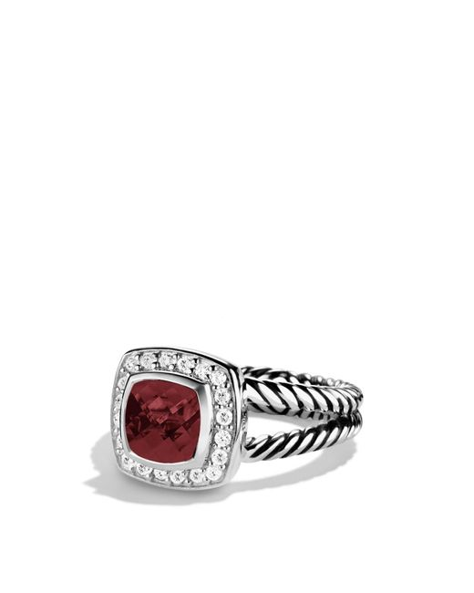 David Yurman | Metallic Petite Albion Ring With Pyrope Garnet & Diamonds | Lyst