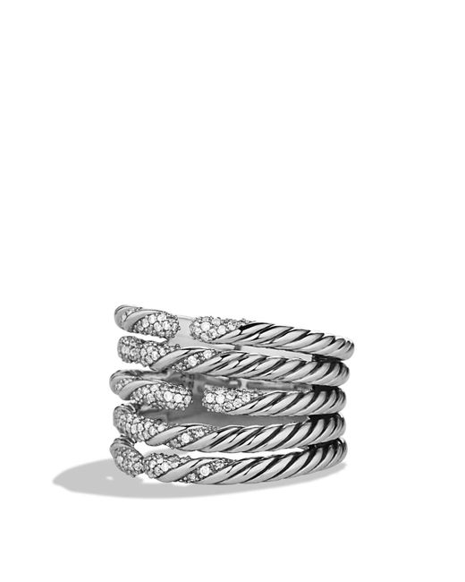 David Yurman | Metallic Willow Five-row Ring With Diamonds | Lyst