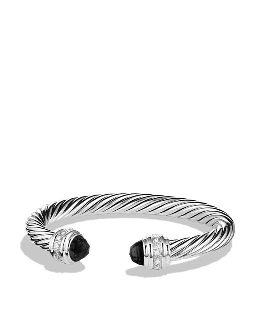 David Yurman | Cable Classics Bracelet With Black Onyx And Diamonds, 7mm | Lyst