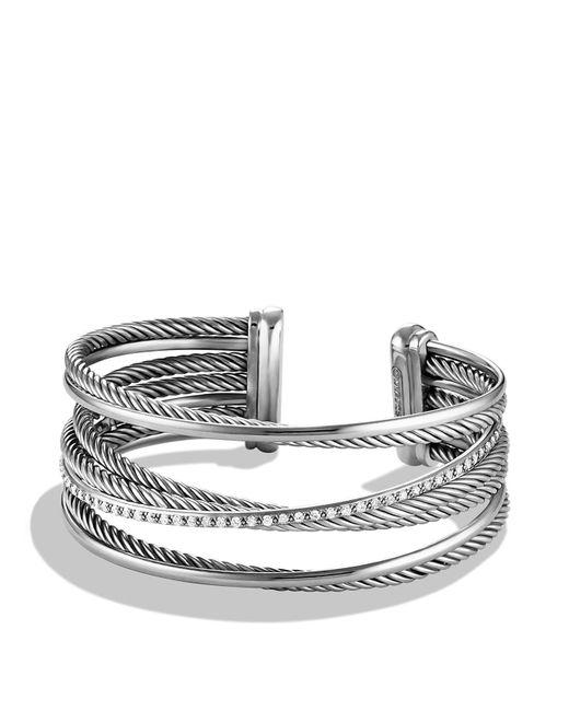 David Yurman | Metallic Crossover Four-row Cuff With Diamonds | Lyst