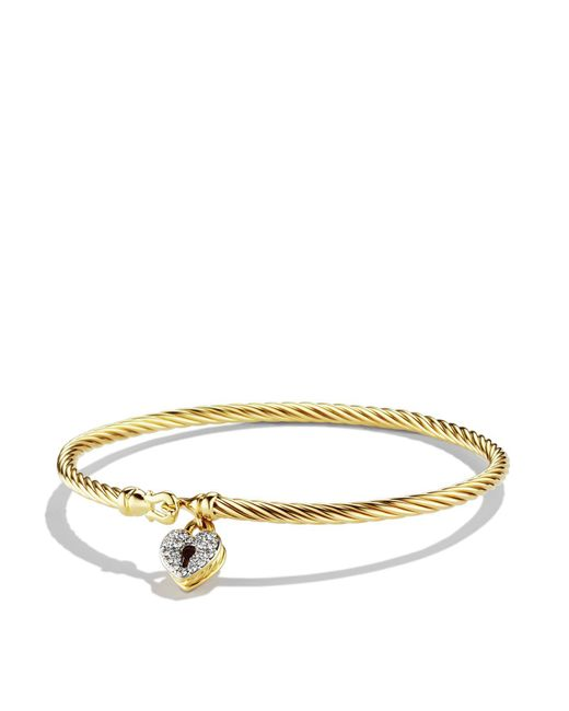 David Yurman | Yellow Cable Collectibles Heart Lock Bracelet With Diamonds In Gold | Lyst