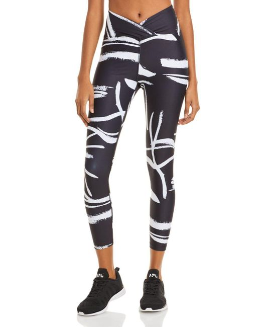 Year Of Ours Black Veronica Abstract Print Leggings
