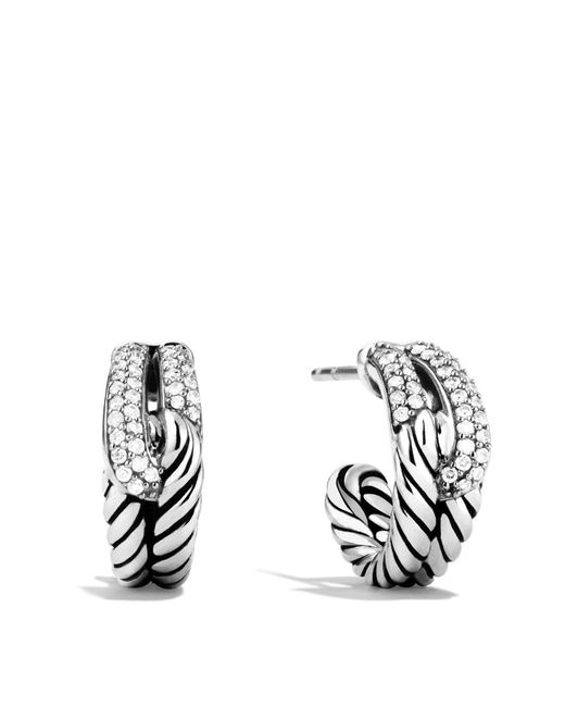 David Yurman | Metallic Labyrinth Single-loop Earrings With Diamonds | Lyst