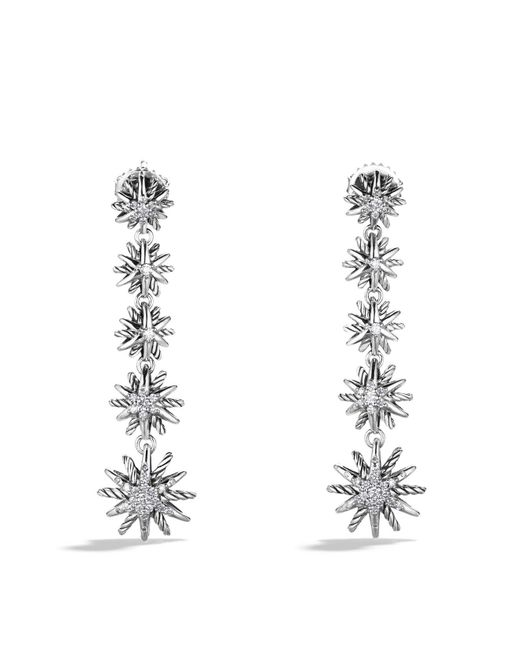 David Yurman | Metallic Starburst Drop Earrings With Diamonds | Lyst