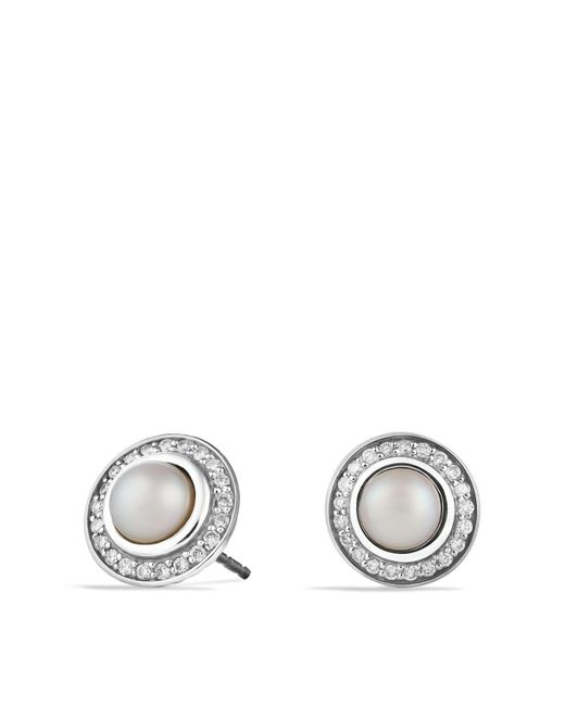 David Yurman | White Cerise Mini Earrings With Pearls And Diamonds | Lyst