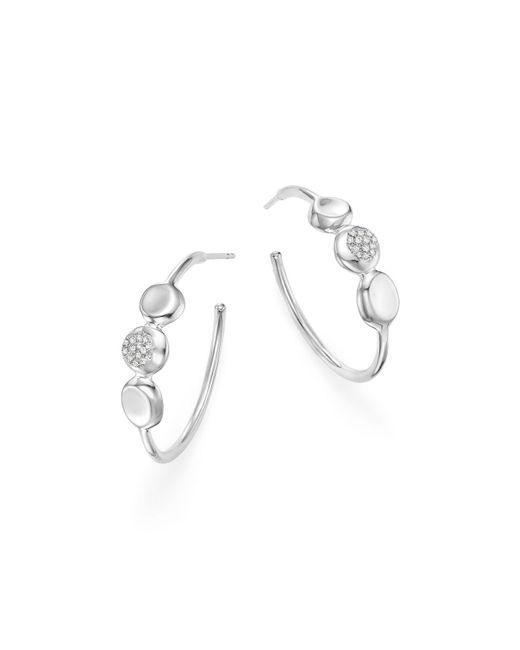 Ippolita - Metallic Sterling Silver Onda Diamond Hoop Earrings - Lyst