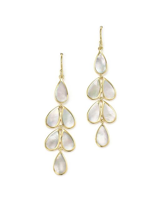 Ippolita   Metallic 18k Yellow Gold Rock Candy® Cascade Teardrop Earrings With Mother-of-pearl   Lyst