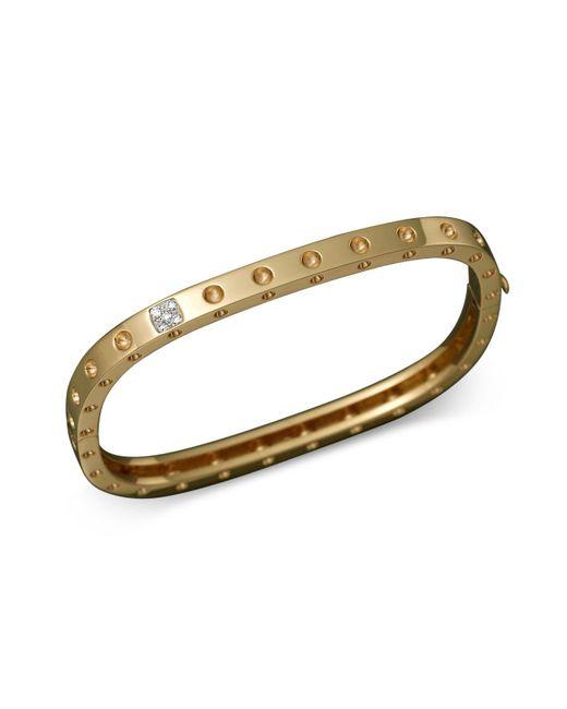 Roberto Coin   Metallic 18k Yellow Gold Pois Moi Single Row Diamond Bracelet   Lyst