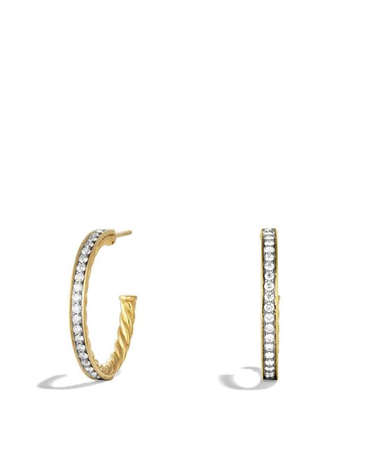 David Yurman | Yellow Sculpted Cable Large Hoop Earrings With Diamonds In Gold | Lyst
