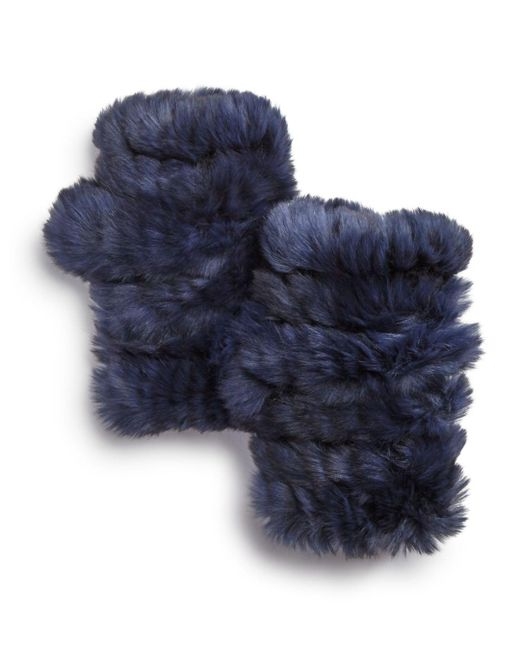 Jocelyn - Blue Knit Rabbit Fur Fingerless Gloves - Lyst