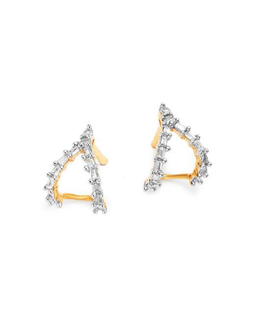 Adina Reyter Metallic 14k Yellow Gold Baguette Diamond Double J Hoop Earrings