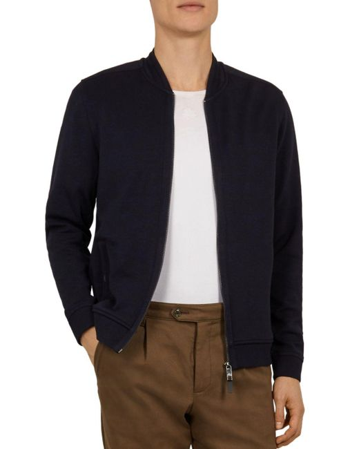 61f75601ae439c Ted Baker - Blue Livid Bomber Jacket With Woven Panels for Men - Lyst ...