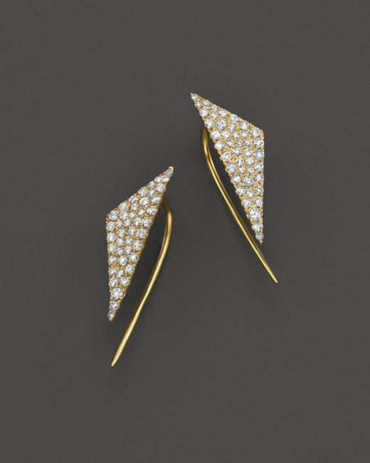 Meira T - Metallic 14k Yellow Gold Diamond Triangle Ear Cuffs - Lyst