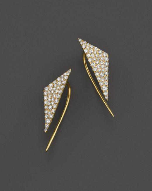Meira T Metallic 14k Yellow Gold Diamond Triangle Ear Cuffs