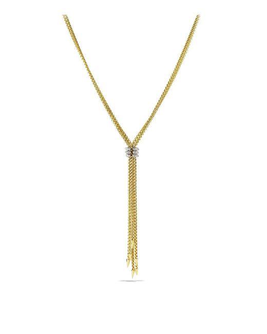 David Yurman   Metallic Willow Tassel Necklace With Diamonds In Gold   Lyst