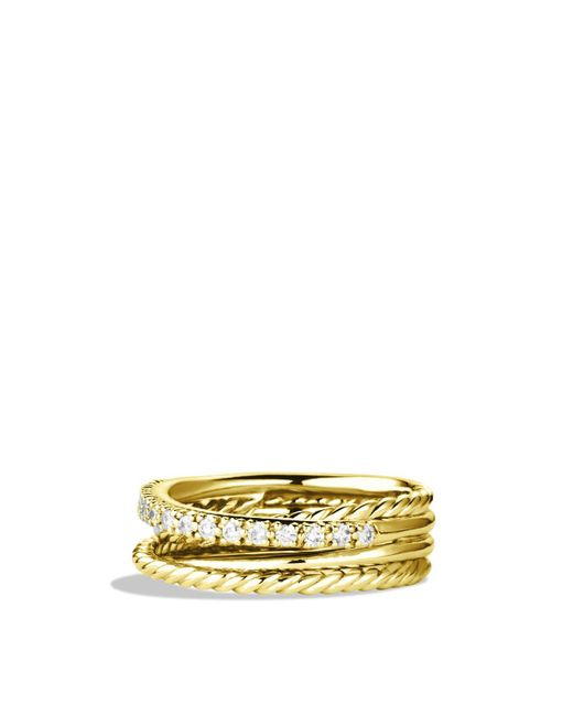 David Yurman | Yellow Crossover Ring With Diamonds In Gold | Lyst