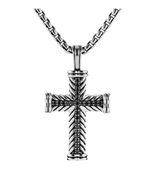 "David Yurman | Metallic Chevron Cross With Black Diamonds On Chain, 22"" for Men | Lyst"