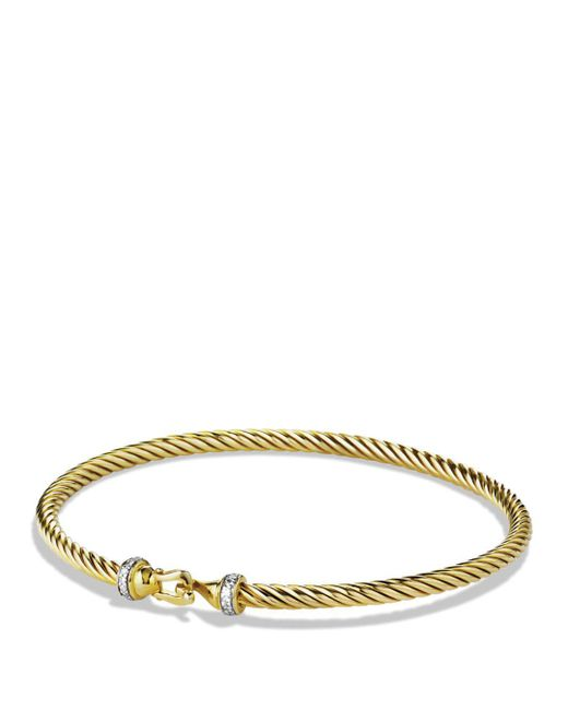 David Yurman - Yellow Cable Buckle Bracelet With Diamonds In Gold - Lyst