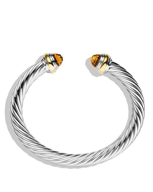 David Yurman Metallic Cable Classics Bracelet With Citrine And Gold