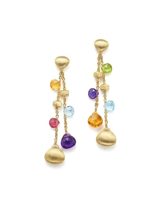 Marco Bicego | Metallic 18k Yellow Gold Paradise Gemstone Teardrop Double Strand Earrings | Lyst