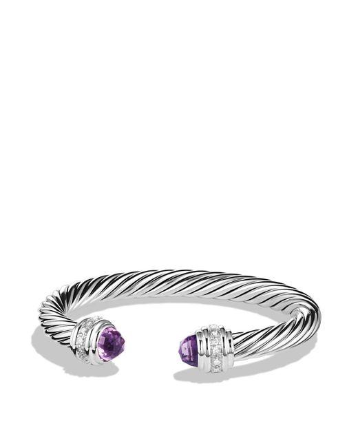David Yurman | Metallic Cable Classics Bracelet With Amethyst & Diamonds | Lyst