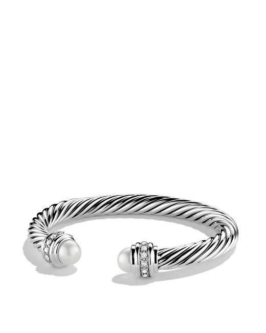 David Yurman | Metallic Cable Classics Bracelet With Pearls & Diamonds | Lyst