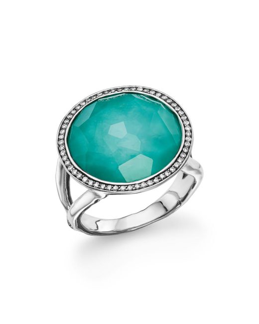 Ippolita - Metallic Sterling Silver Stella Lollipop Ring In Turquoise Doublet With Diamonds - Lyst