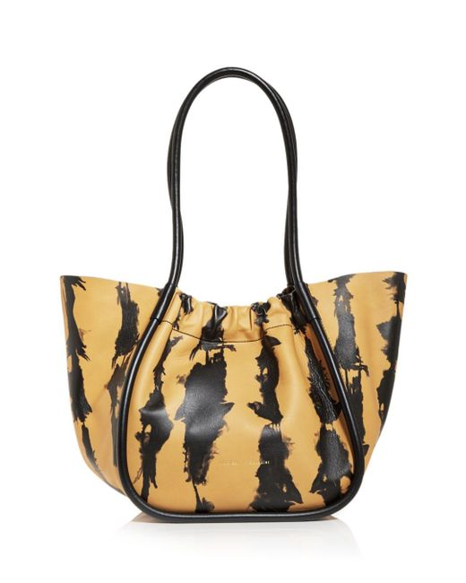 Proenza Schouler Multicolor Large Tie Dye Stripe Ruched Leather Tote