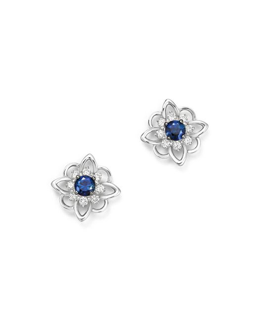 KC Designs - Multicolor 14k White Gold Floral Diamond & Sapphire Stud Earrings - Lyst