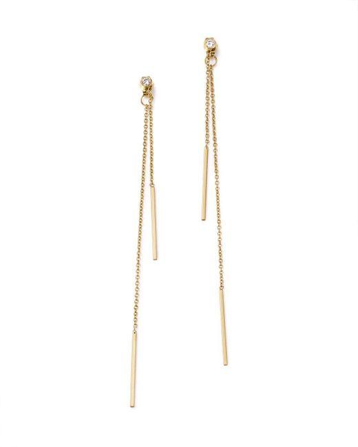 Zoe Chicco - Metallic 14k Yellow Gold Bar Drop Earrings With Diamonds - Lyst