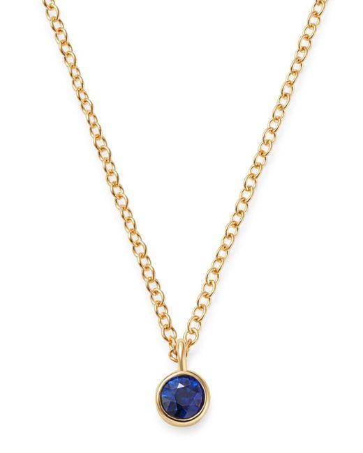 Zoe Chicco Metallic 14k Yellow Gold Blue Sapphire Drop Choker Adjustable Necklace