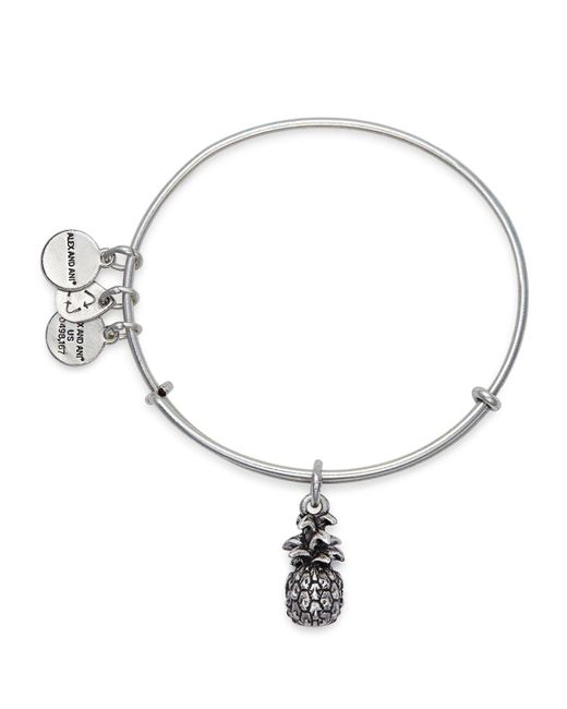 ALEX AND ANI - Metallic Pineapple Expandable Wire Bangle - Lyst