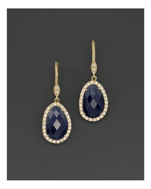 Meira T | Black 14k Yellow Gold Sapphire And Diamond Earrings | Lyst